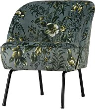 Retro Sessel mit Blumenmuster Grau Bunt Samtbezug