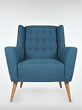 Retro Sessel Polstersessel Westhampton blau 83 x 95 x 73 cm roombird