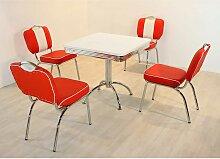 Retro Sitzgruppe in Rot Weiß gestreift 4 Stühlen