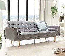 Retro Sofa in Grau Webstoff Schlaffunktion