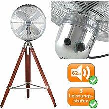 Retro Standventilator mit Holzstativ, Windmaschine mit 40cm Durchmesser und nostalgischen Dreibein-Holzstativ, optischer Hingucker, starke 50 Watt Leistung