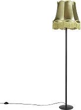 Retro Stehlampe schwarz mit Granny Schirm grün 45