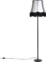 Retro Stehlampe schwarz mit Granny Schirm schwarz