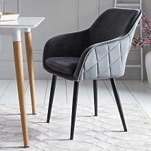 Retro Stühle in Grau Samt Armlehnen