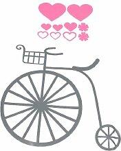 Retro Style Bike Herz-Druck DIY Wandaufkleber Aufkleber Grau Rosa