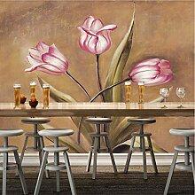 Retro Tapete, Blumennaturlandschaftswandgemälde