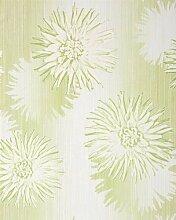 Retro Tapete EDEM 030-25 Retrotapete Design Blumen Floral Tapete Vinyltapete 3D Blumentapete creme-weiß grün hell-olive