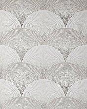 Retro Tapete EDEM 1030-10 Vinyltapete geprägt mit grafischem Muster glitzernd weiß grau 5,33 m2