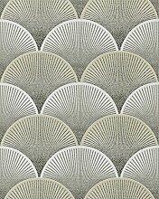Retro Tapete EDEM 1030-15 Vinyltapete geprägt mit grafischem Muster glitzernd creme grün weiß grau 5,33 m2
