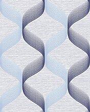 Retro Tapete EDEM 1034-12 Vinyltapete strukturiert mit grafischem Muster glitzernd blau hell-blau violett-blau 5,33 m2