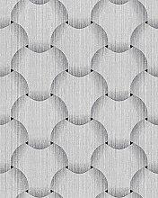 Retro Tapete EDEM 1035-10 Vinyltapete strukturiert mit grafischem Muster glitzernd silber grau weiß 5,33 m2