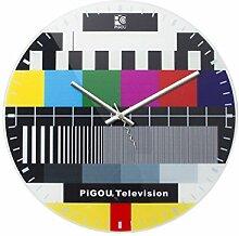 Retro Testbild Wanduhr TV Uhr mit Fernseher
