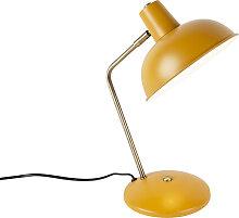 Retro Tischlampe gelb mit Bronze - Milou