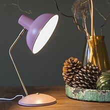 Retro Tischlampe pink mit Bronze - Milou