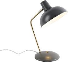 Retro Tischlampe taupe mit Bronze - Milou