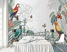 Retro tropische Pflanze Blumen Papagei Wallpaper