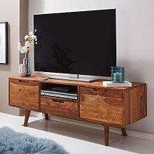 Retro TV Board aus Sheesham Massivholz 135 cm breit