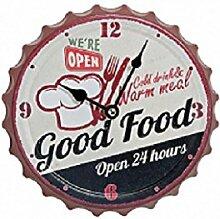 Retro Uhr Metall kaufen Bar Kronkorken Uhr Wanduhr 20cm (good food)