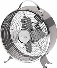Retro Ventilator aus Metall Tischventilator 26 cm Tragegriff (Retro-Lüfter, Windmaschine, 2 Stufen, Anthrazit)