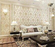 Retro-vergoldet Perle geschnitzt 3d Tapete Wohnzimmer Schlafzimmer Wände Esszimmer Tapete, beige, 0.53cm*10m