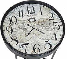 Retro Vintage Beistelltisch mit eingebauter Uhr,