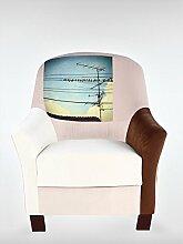 Retro Vintage Sessel Ohrensessel 78 x 83 x 93 cm Wohnzimmersessel bunt braun Buchenholz