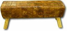Retro Vintage Sitzbank Lederbank Springbock Bank Polsterbank Massivholz Holz mit Echtleder Leder Cognac Karo Braun