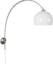 Retro Wandbogenlampe Stahl mit weißem Schirm