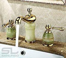 Retro Waschbecken Waschtisch 3Loch Armatur Gold Marmor Glasskristall