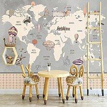 Retro Weltkarte großes Wandbild handgemalte