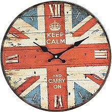 Retro Wohnzimmer Wanduhr aus Holz Dekoration Clock, C
