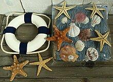 Rettungsring b/w, Deko Fischernetz 1 x 1,5m blau mit Muscheln und 6 Seesternen (N)