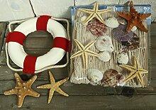 Rettungsring r/w, Deko Fischernetz 1 x 1,5m beige mit Muscheln und 6 Seesternen (N)
