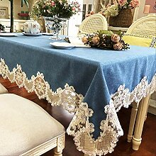 RETY Leinen Patchwork Lace Lace Blue Dinner Dust