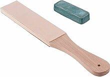RETYLY Messer Schaerfer Set Holz Griff Leder