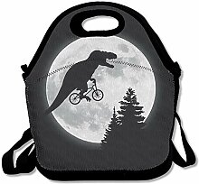 Reusable Lunch Bag Dinosaur Riding A Bike Food