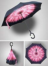 Reverse Regenschirm Umgekehrter Schirm OUTERDO Doppelschicht faltender Regenschirm Wasserdicht Winddicht Sonnenschutz fur Alle Art von Wetter C-daisy pink