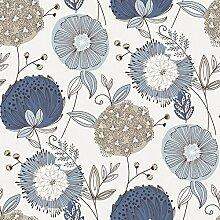 Revival 5653 Vlies-Tapete Retro-Blumen 50er Jahre zartblau altweiß