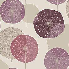 Revival 5657 Vlies-Tapete Pusteblumen Retro-Stil silber violett lila beige