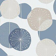 Revival 5659 Vlies-Tapete Pusteblumen Retro-Stil Silber Beige Hellblau