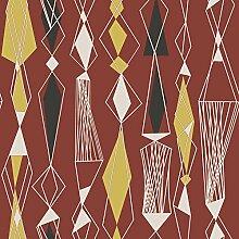 Revival 5682 Vlies-Tapete 60er Jahre Retro-Stil Weiß Gelb Ziegelro