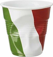 Revol 647345Becher Cappuccino Knittereffekt Porzellan weiß Flaggen Italien 8,5cm