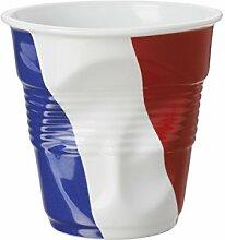 Revol 647346Cappuccino-Becher Knittereffekt Porzellan weiß Flagge Frankreich 8,5cm