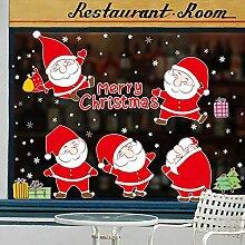 Reyqing Santa Claus Christmas Ornaments Shop Aufkleber Papier Layout Schneeflocke Glastür Aufkleber, Santa Aufkleber