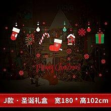 Reyqing Weihnachten Aufkleber, Aufkleber, Schaufenster, Glastüren, Santa Claus, Schneeflocken, Dekorationen, Bäume, J Weihnachten Geschenk Box, Groß