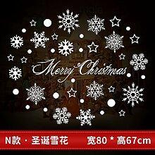 Reyqing Weihnachten Aufkleber, Aufkleber, Schaufenster, Glastüren, Santa Claus, Schneeflocken, Dekorationen, Bäume, N Weihnachten Schneeflocke, Groß