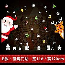 Reyqing Weihnachten Aufkleber, Aufkleber, Schaufenster, Glastüren, Santa Claus, Schneeflocken, Dekorationen, Bäume, B Weihnachten Tür Aufkleber, Groß