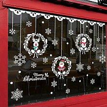 Reyqing Weihnachten Kranz Schaufenster Aufkleber
