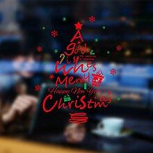 Reyqing Weihnachtsbäume Aufkleber Geschäfte Fenster Glas Tür Aufkleber, Aufkleber, Rot Weihnachtsbaum, Groß