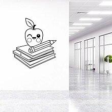Rfokun Apple und Bücher Wandaufkleber Aufkleber